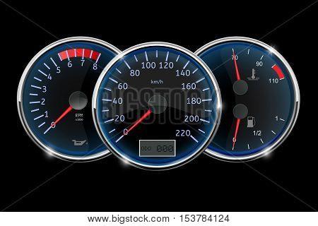 Dashboard - speedometer tachometer fuel gauge. Vector illustration on black background