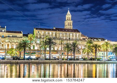 Night view at Diocletian Palace and promenade, famous touristic attraction in Split, Croatia.