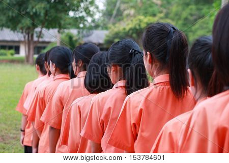 LOEI Thailand - JUNE 20 2016: Thailand secondary education students are standing in line in morning uniform student in thai school education. Education in Thailand on JUNE 20 2016