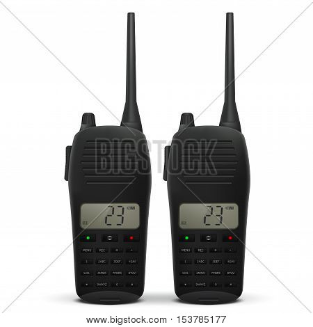 Radio transceiver. Pair of talkies. Vector illustration isolated on white background
