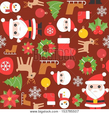 Christmas seamless pattern with sock, santa, christmas flower, slider, snowflake, reindeer, mistletoe, christmas ball, tree for greeting card, backdrop, background, flat design