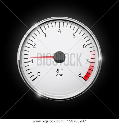 Tachometer. Chrome frame.  Vector illustration on black background