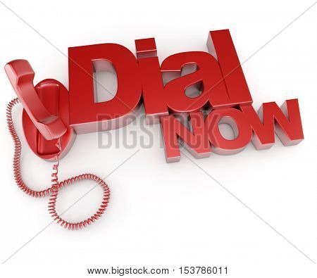 3D rendering of an unhooked telephone with the words dial now