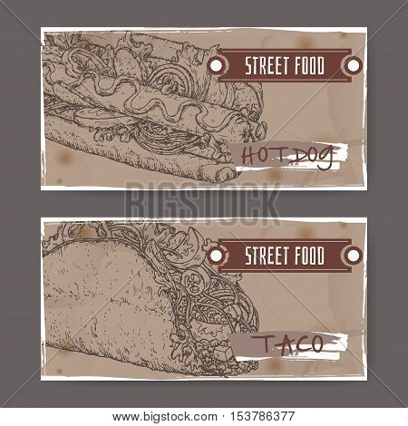 Ste of two landscape banners with hot dog and taco sketch. American and Mexican cuisine. Street food series. Great for market, restaurant, cafe, food label design.