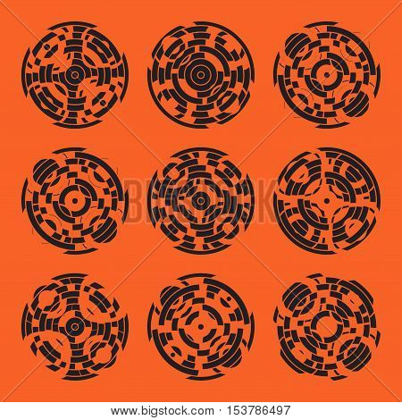 Abstract hightech collection set of 9 radars, Technology circle background.