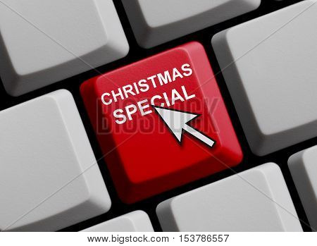 Red Computer Keyboard is showing Christmas Special