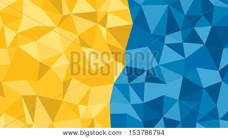 Abstract Blue Orange Lowploly Of Many Triangles Background For Use In Design