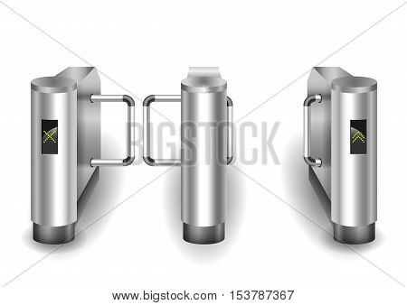 Input metal turnstile checkpoint for visitors or passengers. Vector graphics