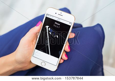 RIGA LATVIA - SEPTEMBER 8 2016: Official site of the iPhone 7. The iPhone 7 and iPhone 7 Plus are smartphones designed developed and marketed by Apple Inc.