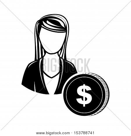 woman cash money icon image vector illustration design