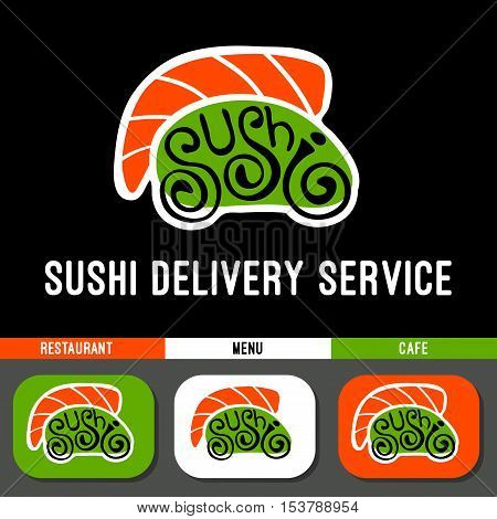 Sushi restaurant logo template. Delivery service, cooking, japan dishes menu, flat, roll, japanese car, lattering.