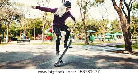 Woman Jumping Skateboard Olly Concept