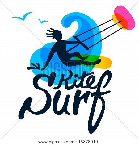 Kitesurfer on surfing board with kite, wave and seagull on white background, logo vector template. Cartoon, flat style, silhouette, lettering.