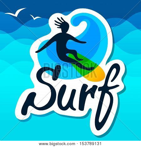 Surfer on surfing board with wave and waves background, logo vector template. Cartoon, flat style, silhouette, lettering.