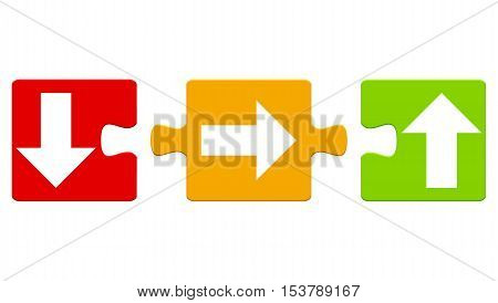 Three red orange green isolated puzzle pieces with arrows