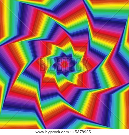 Whirling Spectrum Colors Octagonal Star Forms