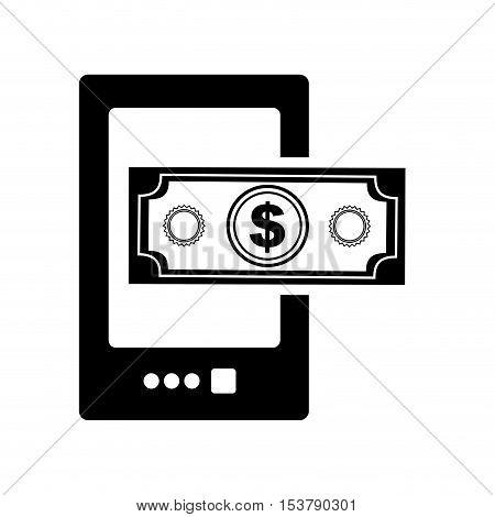 cellphone cash money icon image vector illustration design