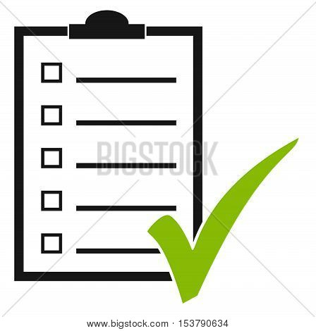 Isolated clipboard illustration with checklist and green tick
