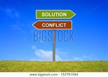 Signpost outside is showing solution or conflict