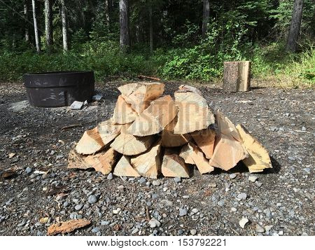 Pile of firewood at camp site