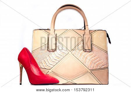 red stiletto woman shoe with bag isolate