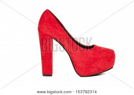 Red stiletto women shoe isolate back ground