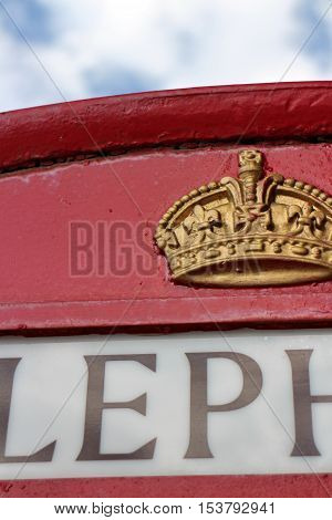 crown on a london red phone booth