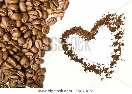 Coffee Grains And Foffee Heart