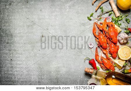 Boiled Crawfish With A Bottle Of White Wine