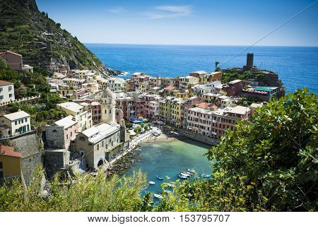 Vernazza in the Cinque Terre seen from cliff path