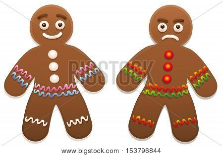 Gingerbread man - one is happy, the other is angry.