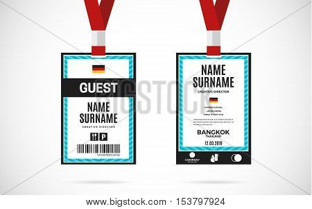 Event Guest Id Card Vector Photo Free Trial Bigstock - Free lanyard template