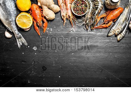 Seafood With Spices And Herbs.