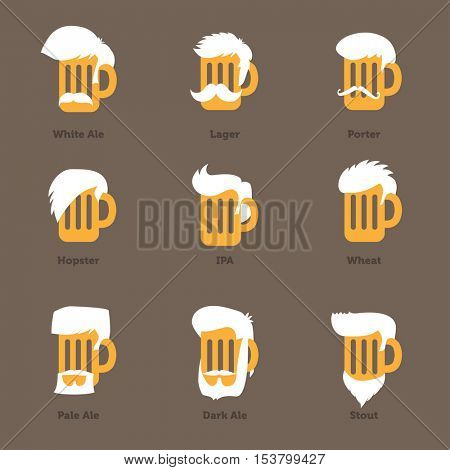 Beer glass hipster character - Barflies. Beer types stylized vector illustrations.