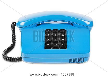Blue telephone with shadow on a isolated white background