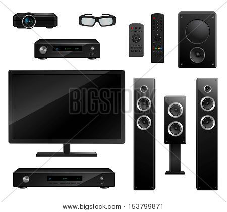 Realistic house appliances set with TV camera 3D glasses musical speakers dvd-player remote isolated vector illustration
