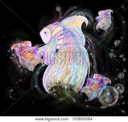 fish and fry are nice family pencil sketch background is black color have many bubbles graphic design.