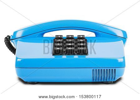 Old blue phone with shadow on a isolated white background