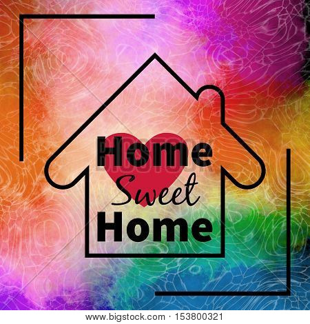 Home sweet home design over colorful textured background