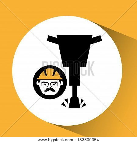 construction man jackhammer icon graphic vector illustration eps 10