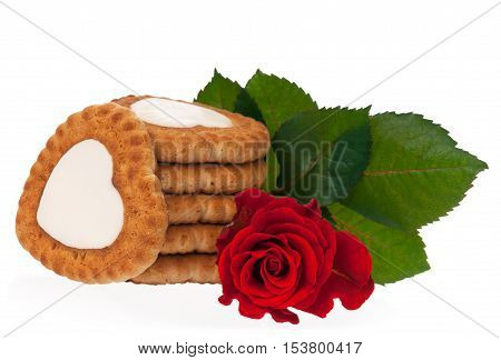 Fresh delicious cookies and red rose for romanticism isolated on white background