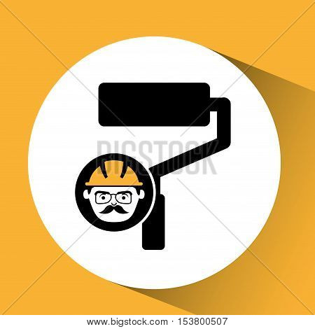 roller man worker construction design icon vector illustration