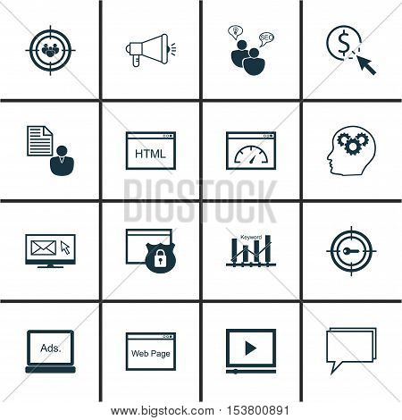 Set Of Advertising Icons On Keyword Optimisation, Media Campaign And Website Topics. Editable Vector