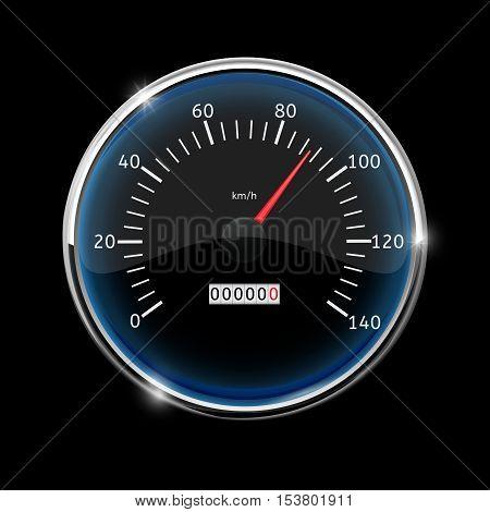 Speedometer. Round speed gauge with 90 km speed indication. On black background. Vector illustration