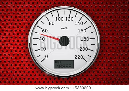 Speedometer. Round speed gauge with 50 km speed indication. On red perforated background. Vector illustration