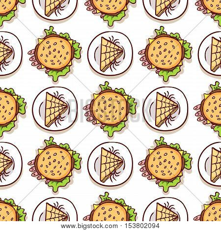 Halloween meal seamless pattern on white. Sandwich with spiders and dead man hand in cheeseburger. Dips with scary food, top view. Hand drawn background, design element for halloween wrapping paper