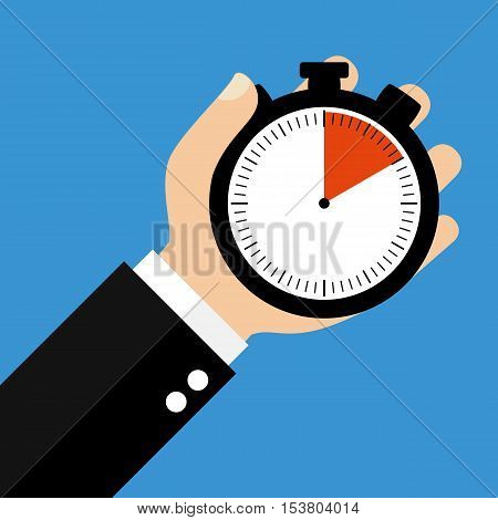 Hand holding Stopwatch showing 10 Seconds 10 Minutes or 2 Hours - Flat Design