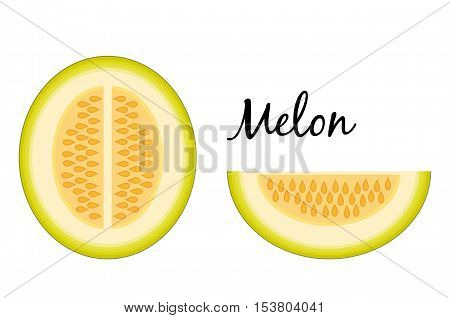 Slice and a half melon isolated on white background. Muskmelon - Galia. Honeydew melon