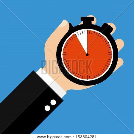 Hand holding Stopwatch showing 55 Seconds 55 Minutes or 11 Hours - Flat Design