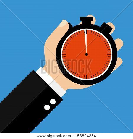 Hand holding Stopwatch showing 59 Seconds or 59 Minutes - Flat Design